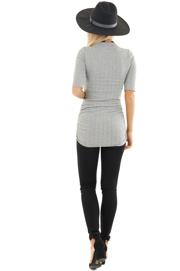 Heather Grey Knit Top with High Neckline and Side Ruching back full body