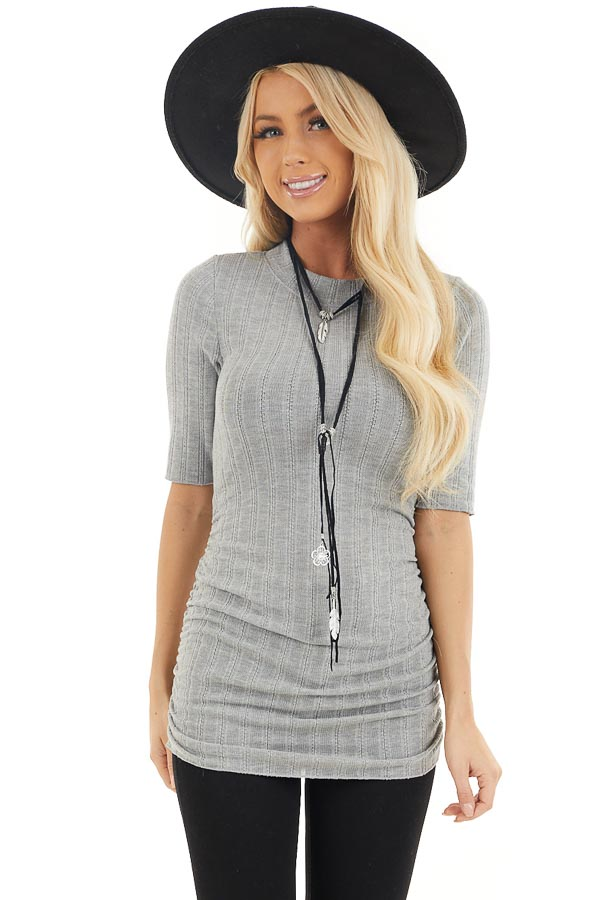 Heather Grey Knit Top with High Neckline and Side Ruching front close up