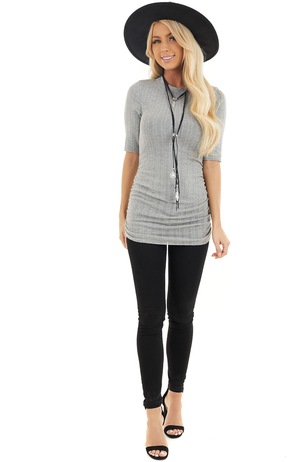 Heather Grey Knit Top with High Neckline and Side Ruching front full body