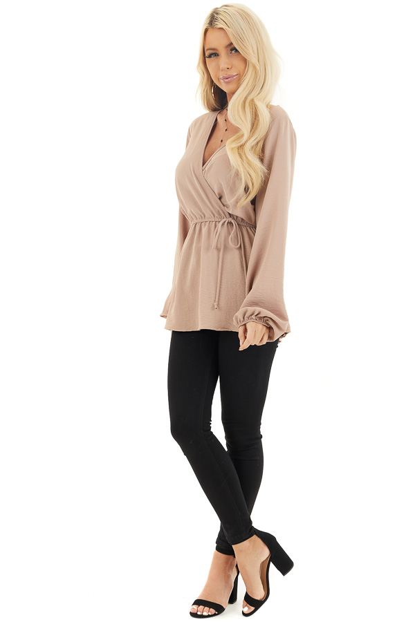 Latte Long Sleeve Surplice Tunic Top with Elastic Waist front full body