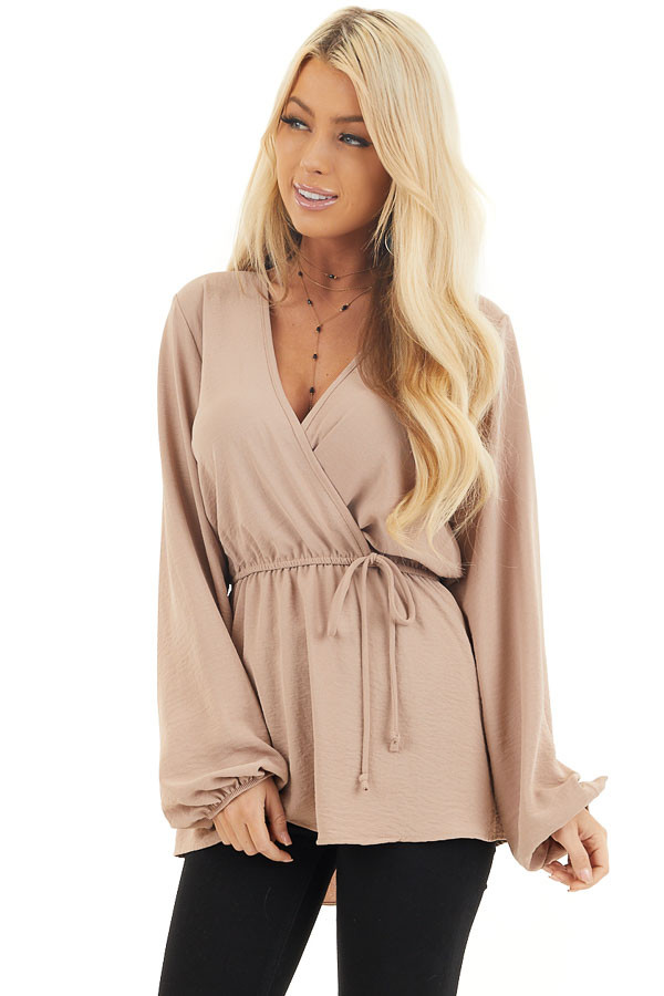 Latte Long Sleeve Surplice Tunic Top with Elastic Waist front close up