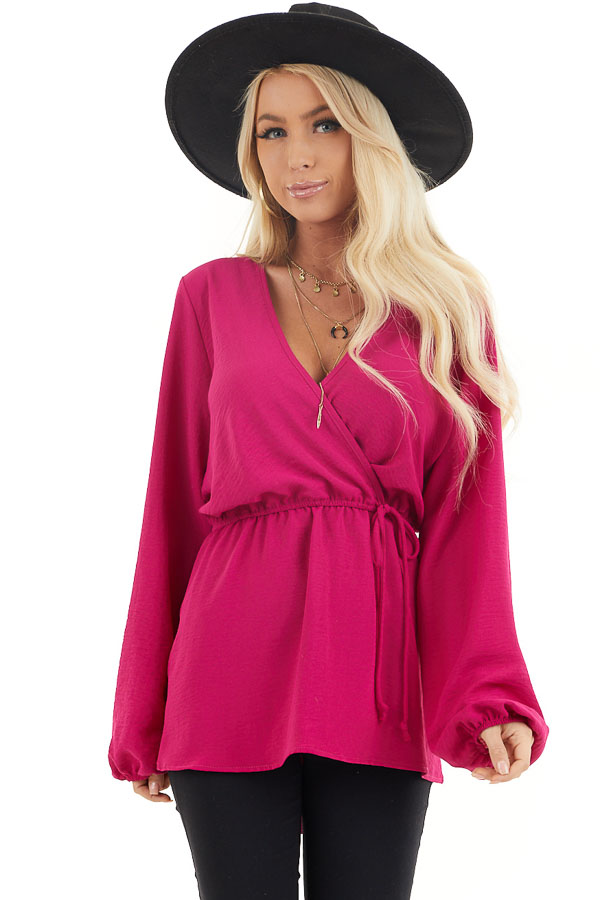 Fuchsia Long Sleeve Surplice Tunic Top with Elastic Waist front close up