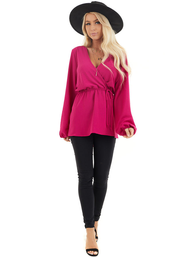 Fuchsia Long Sleeve Surplice Tunic Top with Elastic Waist front full body