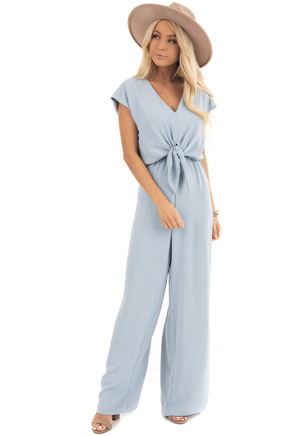 Blue Short Sleeve Jumpsuit with V Neckline and Keyhole Back front full body
