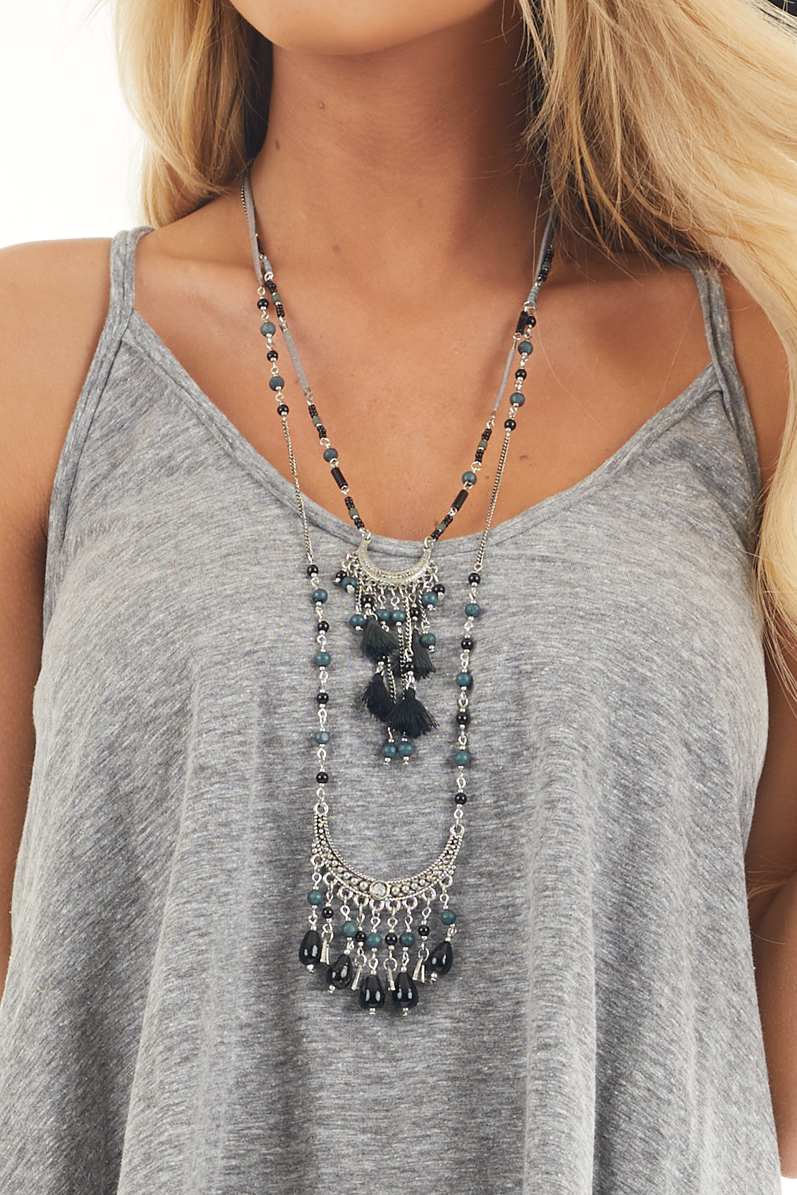 Silver and Black Faux Suede Tiered Necklace with Beads
