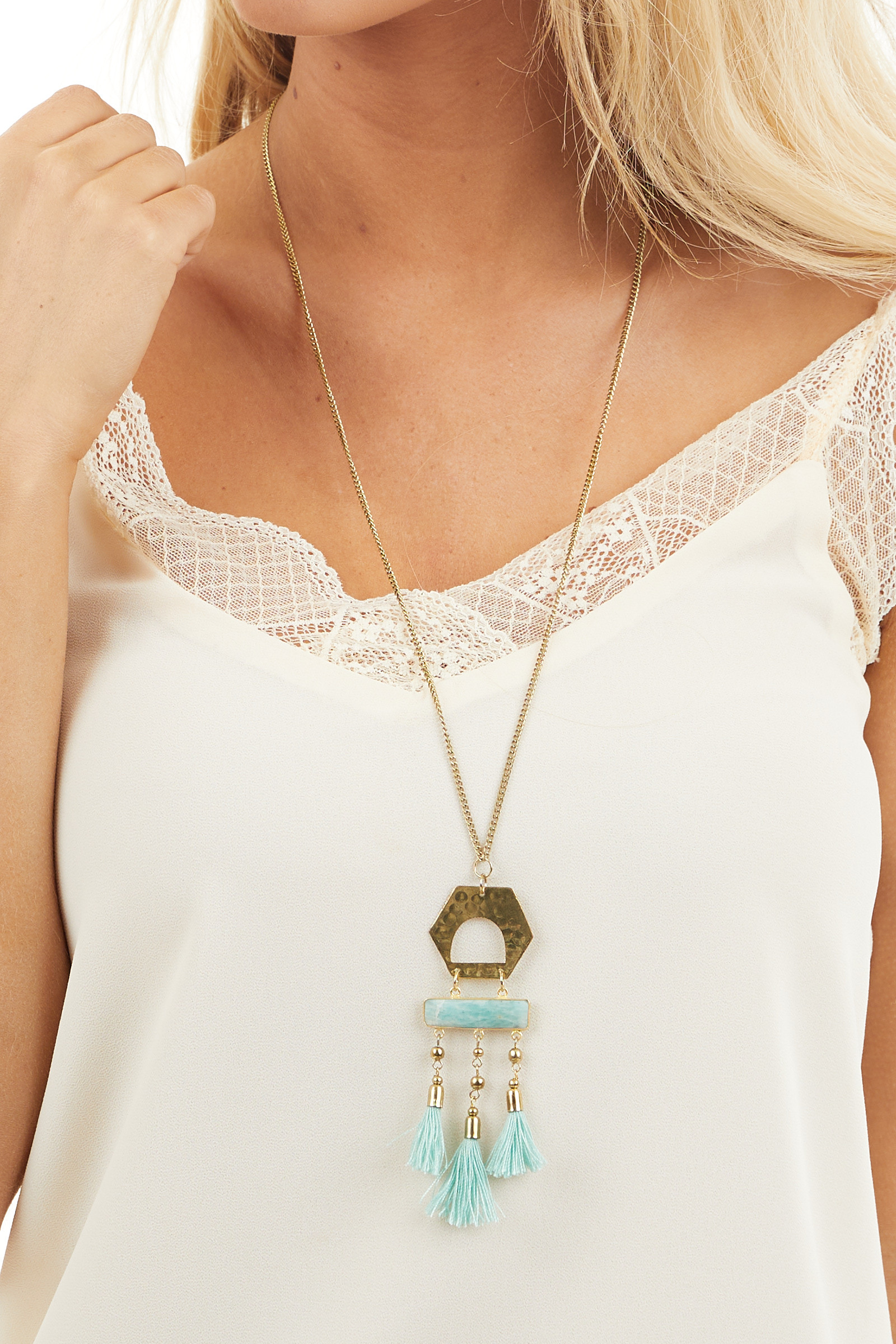 Gold Long Chain Necklace with Amazonite Stone and Tassels