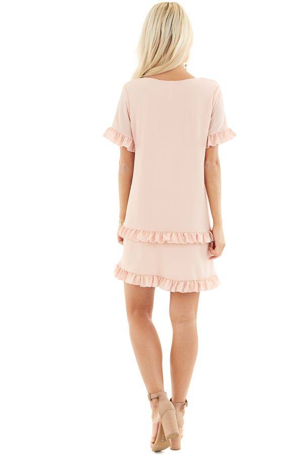 Blush V Neck Mini Dress with Tiered Ruffle Details back full body