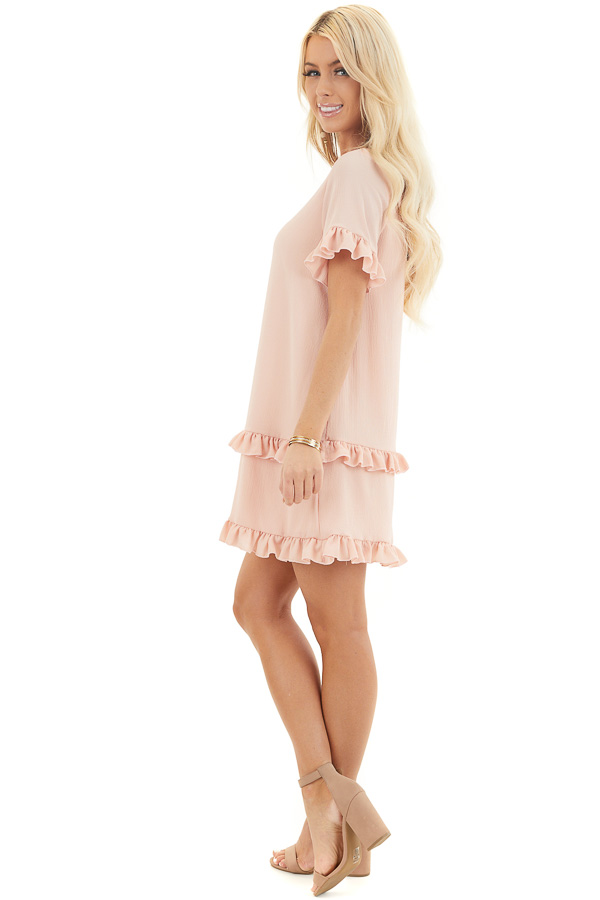 Blush V Neck Mini Dress with Tiered Ruffle Details side full body