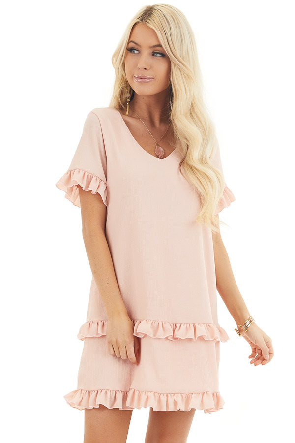 Blush V Neck Mini Dress with Tiered Ruffle Details front close up