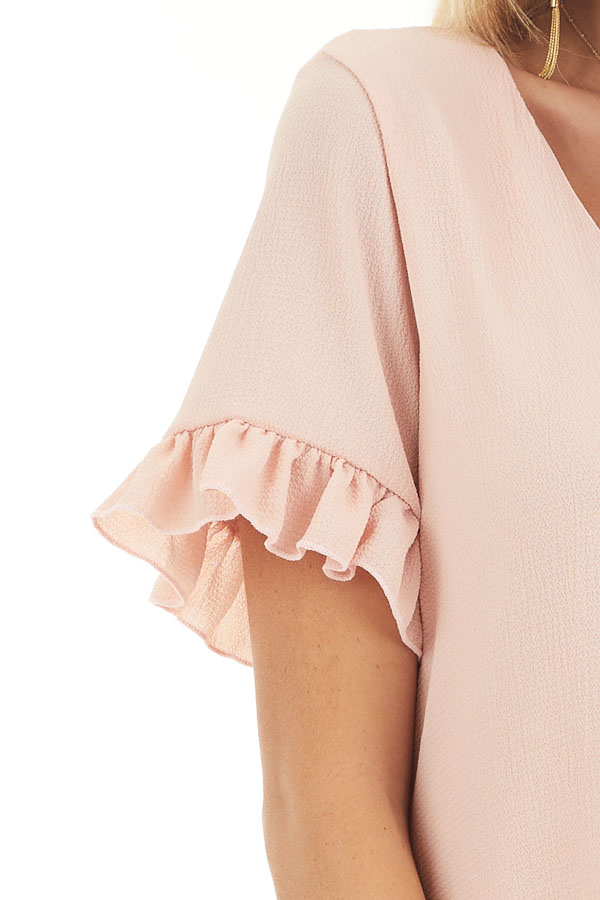 Blush V Neck Mini Dress with Tiered Ruffle Details detail