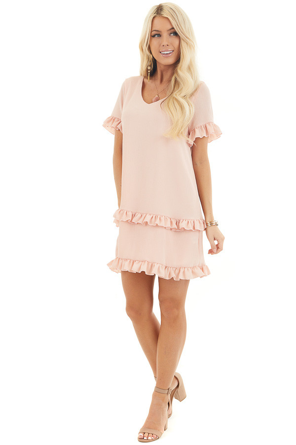 Blush V Neck Mini Dress with Tiered Ruffle Details front full body