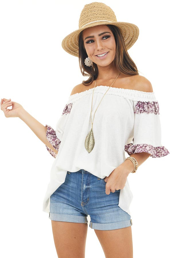 Ivory Off the Shoulder Top with Printed Ruffle Details
