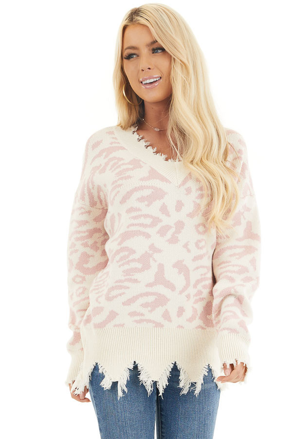 Cream Distressed Sweater Top with Baby Pink Leopard Print front close up