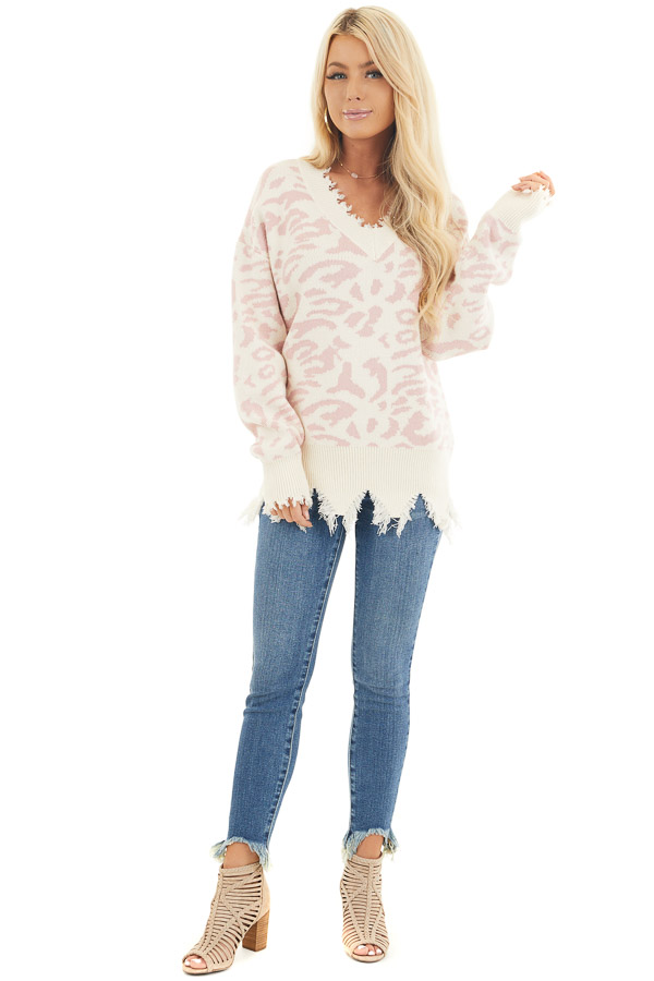 Cream Distressed Sweater Top with Baby Pink Leopard Print front full body