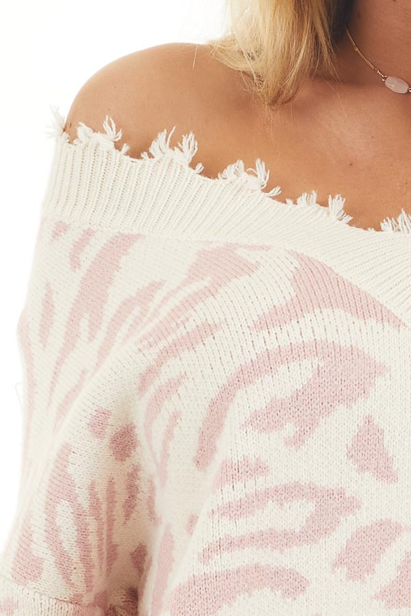 Cream Distressed Sweater Top with Baby Pink Leopard Print detail
