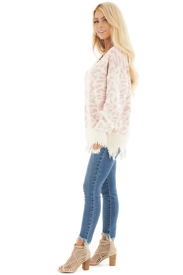 Cream Distressed Sweater Top with Baby Pink Leopard Print side full body