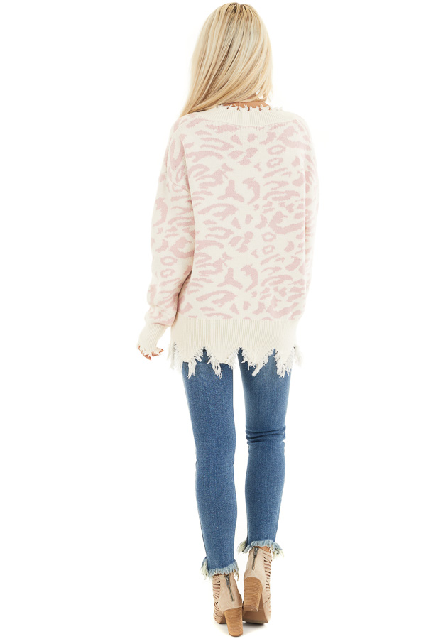 Cream Distressed Sweater Top with Baby Pink Leopard Print back full body