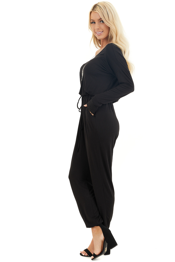 Black Off the Shoulder Jumpsuit with Waist Tie and Pockets side full body
