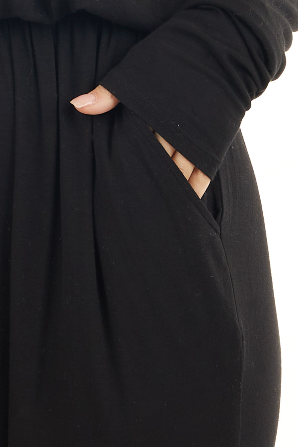 Black Off the Shoulder Jumpsuit with Waist Tie and Pockets detail