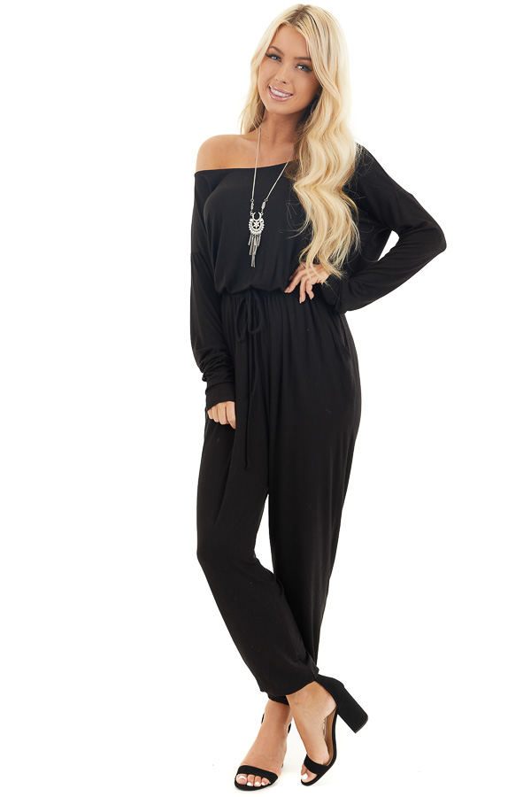 Black Off the Shoulder Jumpsuit with Waist Tie and Pockets front full body