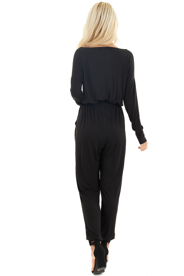 Black Off the Shoulder Jumpsuit with Waist Tie and Pockets back full body