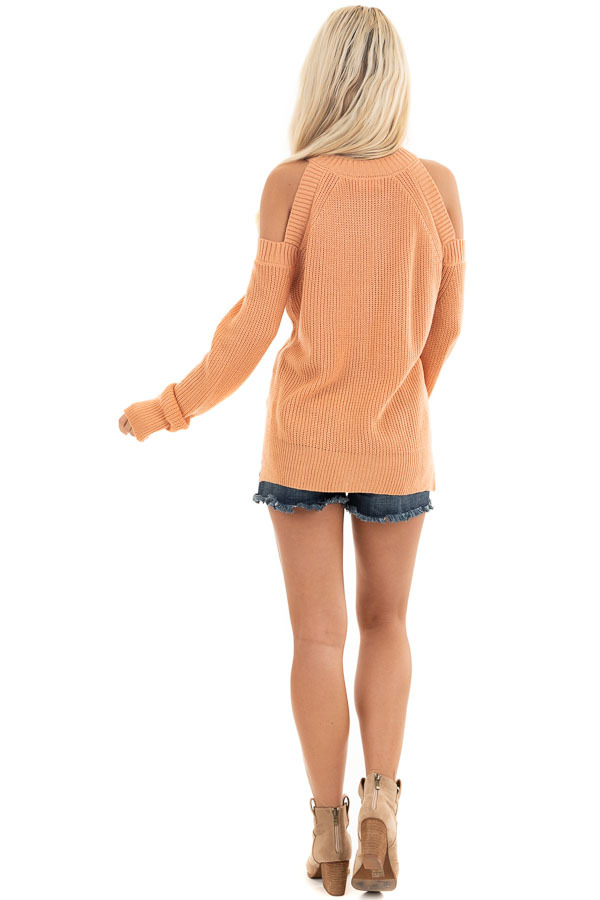 Apricot Long Sleeve Ribbed Sweater Top with Cold Shoulders back full body