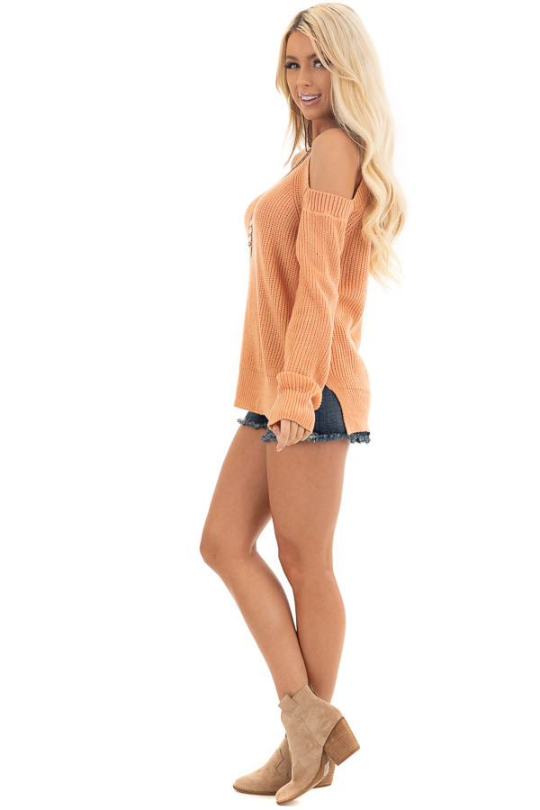 Apricot Long Sleeve Ribbed Sweater Top with Cold Shoulders side full body