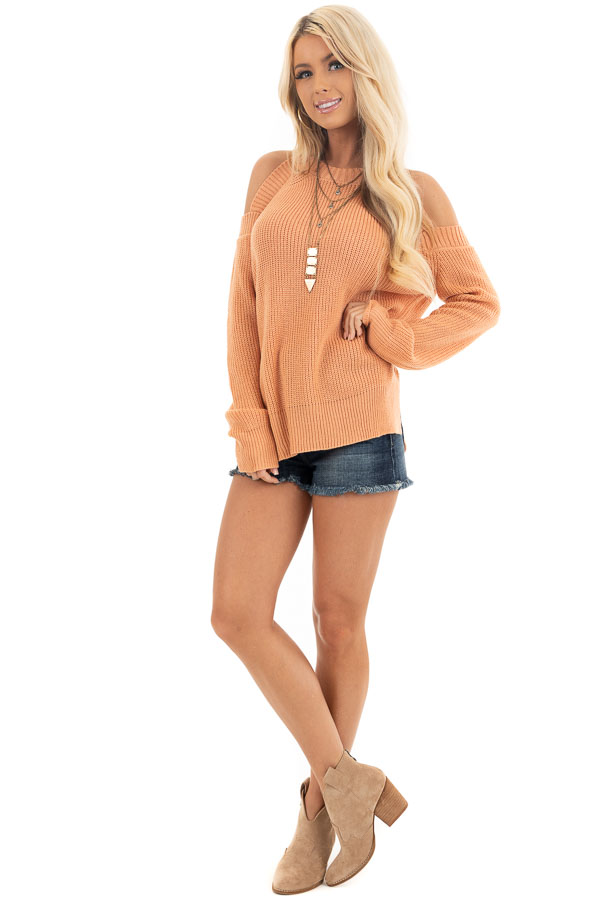 Apricot Long Sleeve Ribbed Sweater Top with Cold Shoulders front full body