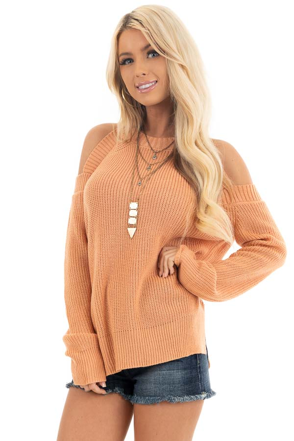 Apricot Long Sleeve Ribbed Sweater Top with Cold Shoulders front close up