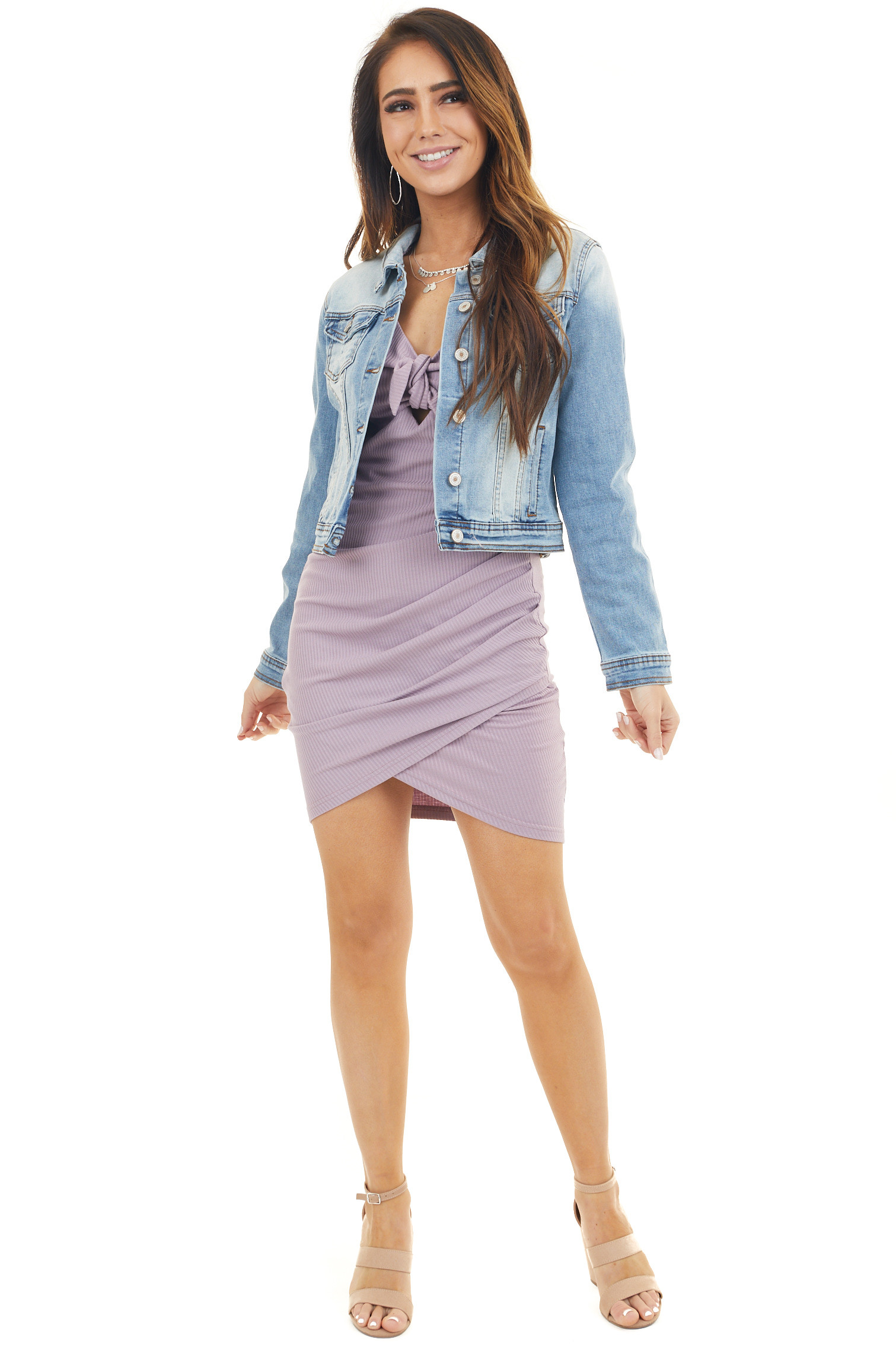 Light Wash Button Up Denim Collared Jacket with Long Sleeves