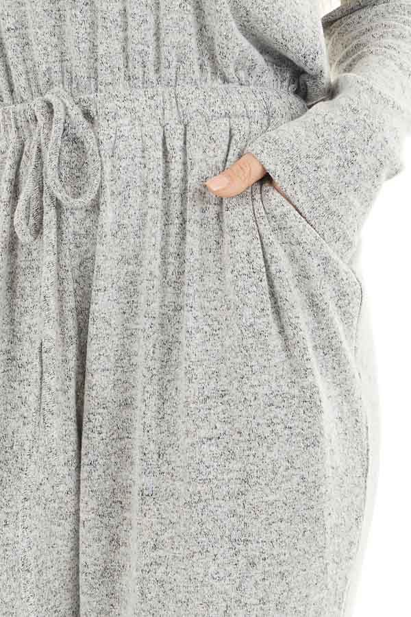 Heather Grey Relaxed Fit Long Sleeve Jumpsuit with Pockets detail