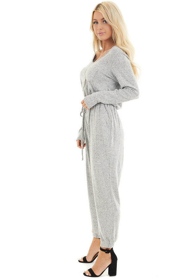 Heather Grey Relaxed Fit Long Sleeve Jumpsuit with Pockets side full body