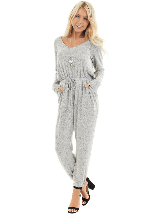 Heather Grey Relaxed Fit Long Sleeve Jumpsuit with Pockets front full body