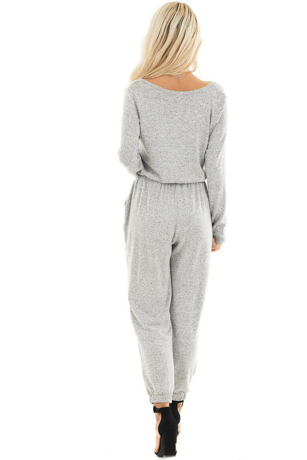Heather Grey Relaxed Fit Long Sleeve Jumpsuit with Pockets back full body