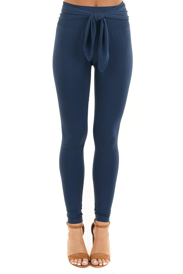 Navy Seamless Stretch Leggings with Tie Front front view