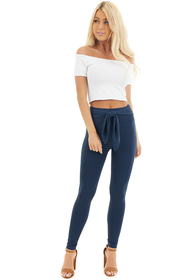 Navy Seamless Stretch Leggings with Tie Front front full body