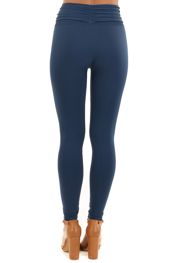 Navy Seamless Stretch Leggings with Tie Front back view