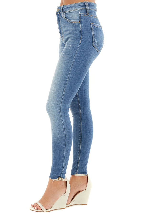 Medium Wash High Waisted Denim Jeans with Distressing side view