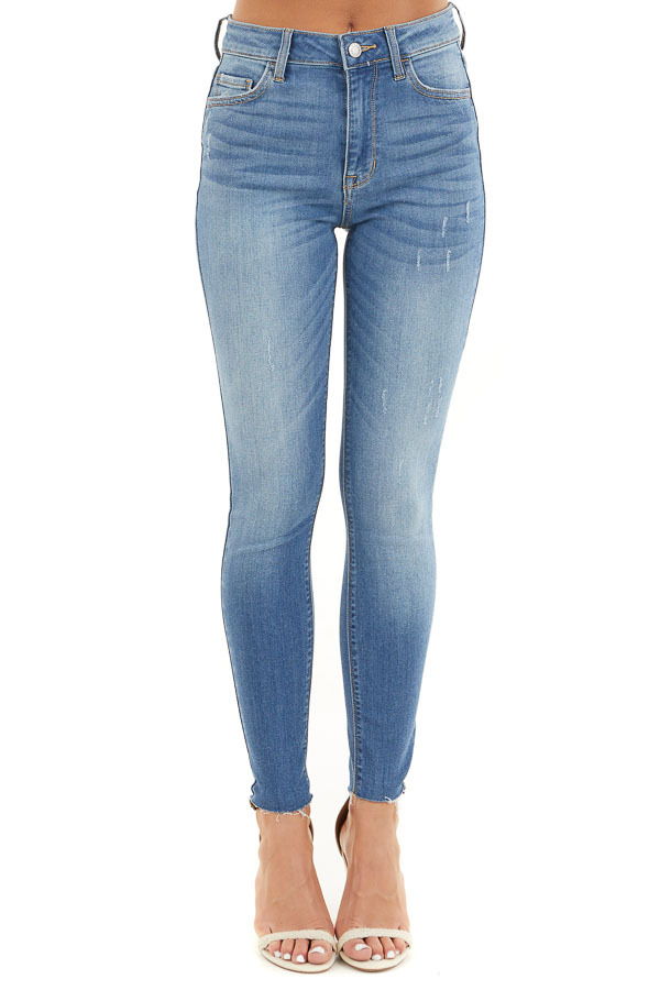 Medium Wash High Waisted Denim Jeans with Distressing front view