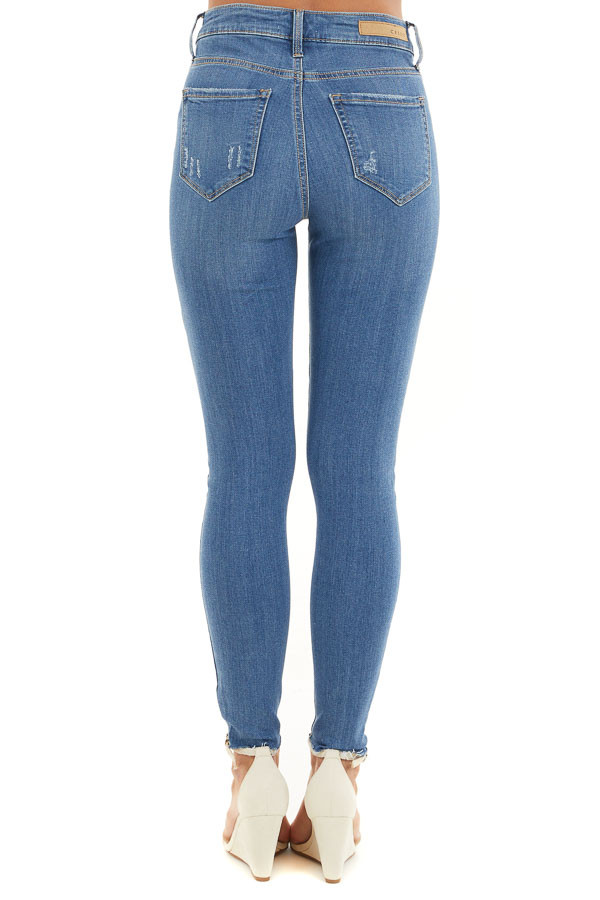 Medium Wash High Waisted Denim Jeans with Distressing back view