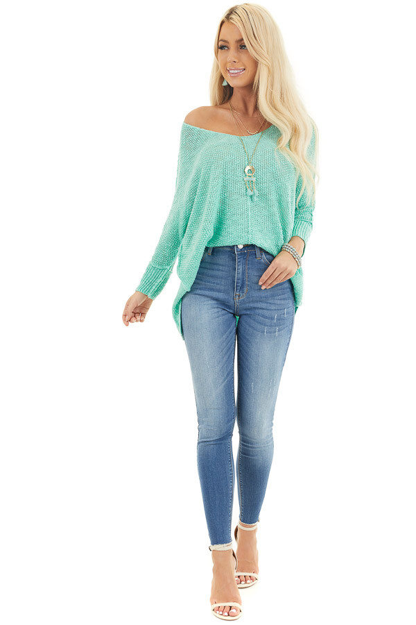 Medium Wash High Waisted Denim Jeans with Distressing front full body