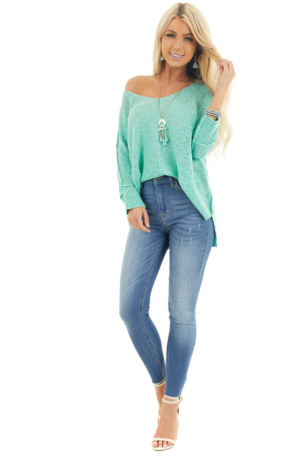 Mint Long Sleeve Knit Top with Side Slits and Exposed Seam front full body