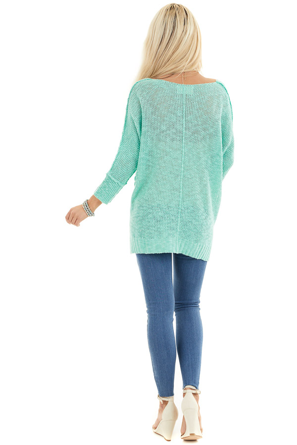 Mint Long Sleeve Knit Top with Side Slits and Exposed Seam back full body