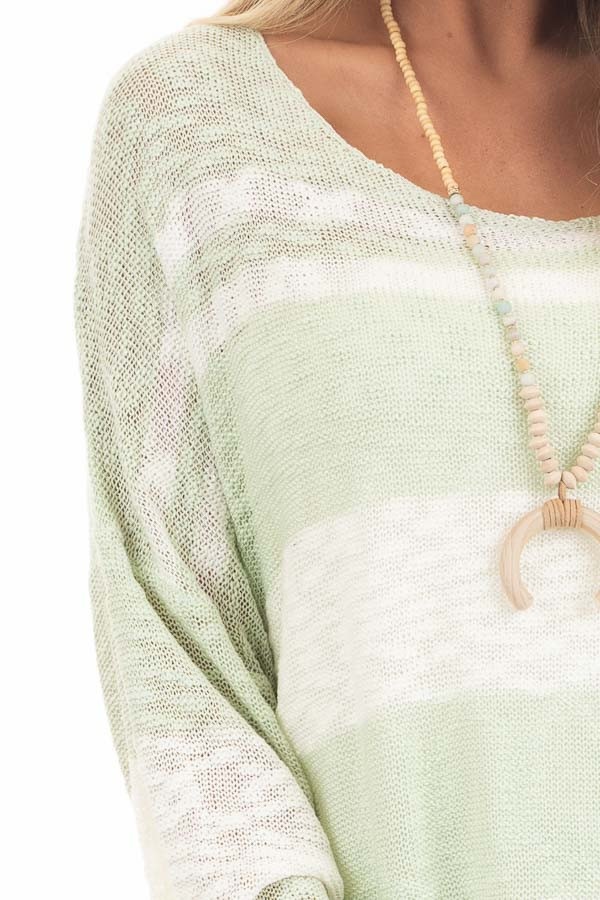 Pastel Green and Ivory Striped Lightweight Knit Sweater detail