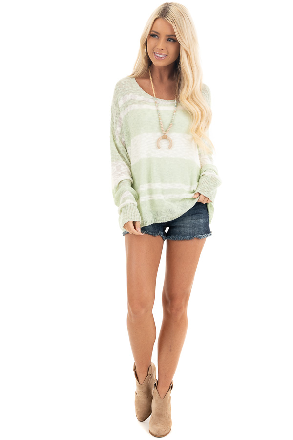 Pastel Green and Ivory Striped Lightweight Knit Sweater front full body