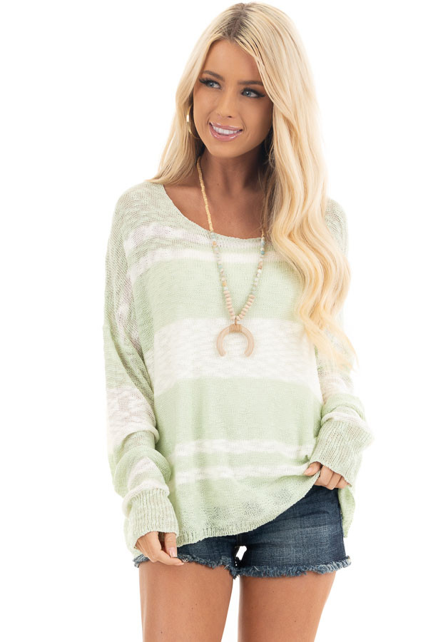 Pastel Green and Ivory Striped Lightweight Knit Sweater front close up