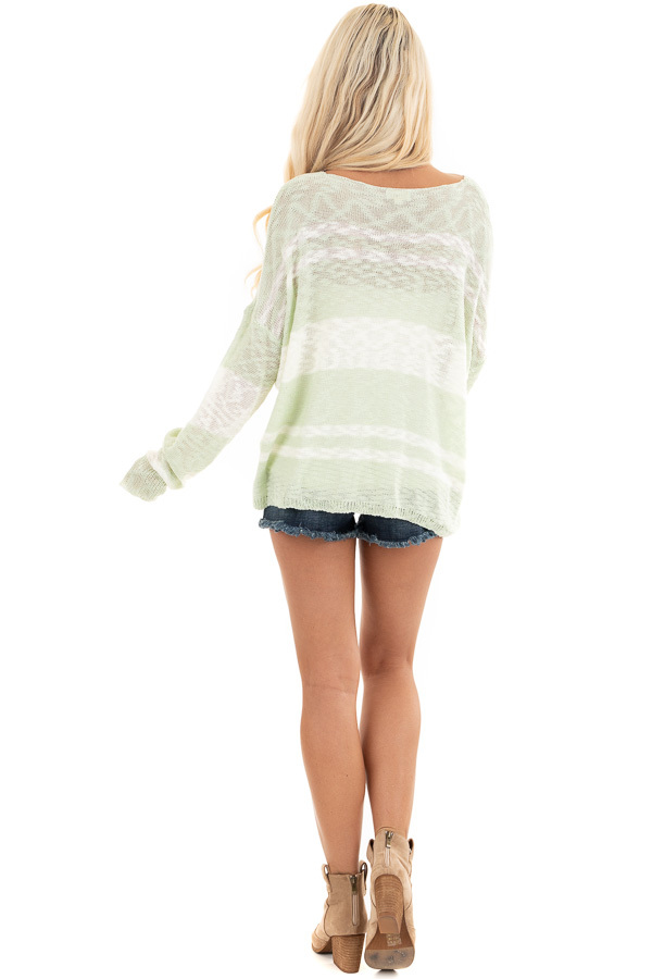 Pastel Green and Ivory Striped Lightweight Knit Sweater back full body