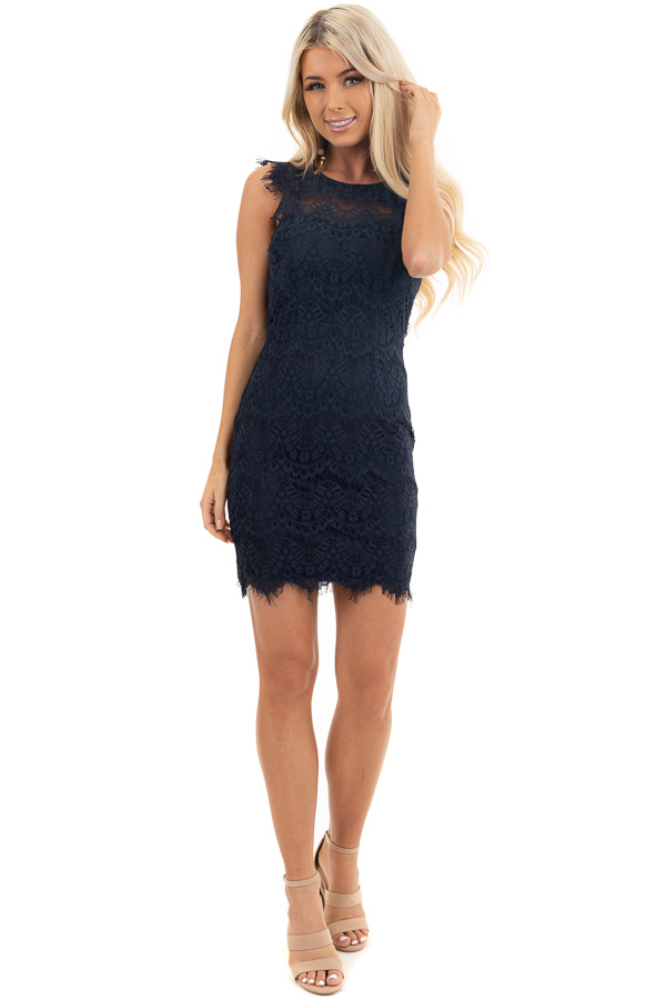 Navy Sleeveless Open Back Lace Dress with Scalloped Edges front full body