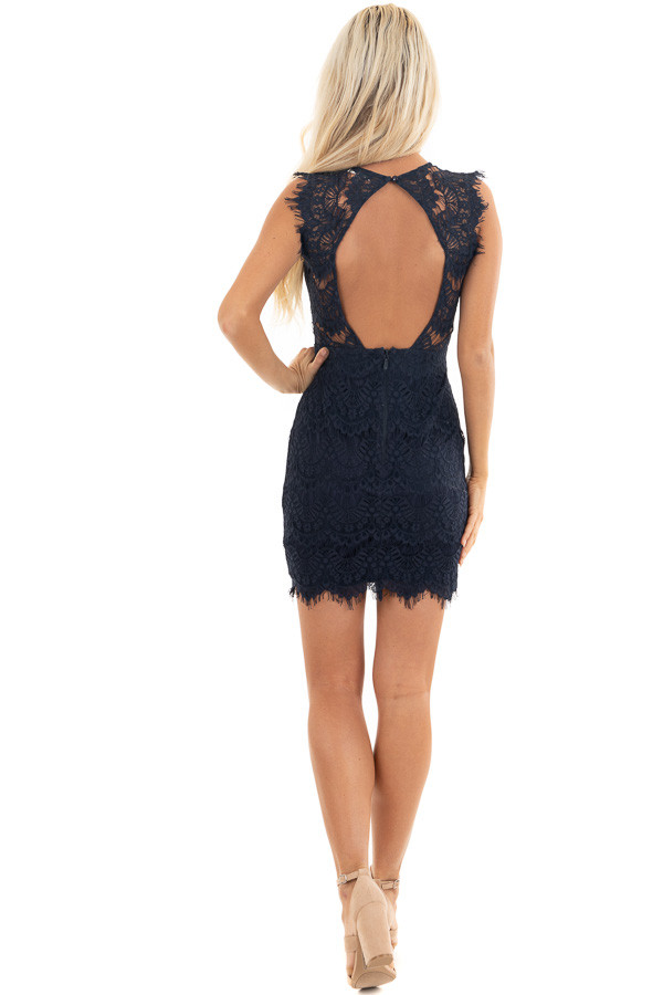 Navy Sleeveless Open Back Lace Dress with Scalloped Edges back full body