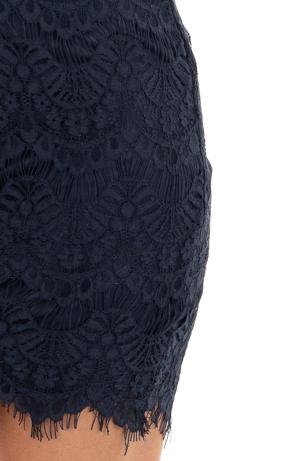 Navy Sleeveless Open Back Lace Dress with Scalloped Edges detail